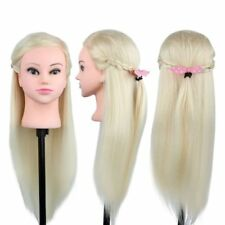 22'-26'' Salon Cosmetology Human Hair Hairdressing Training Head Mannequin+Clamp