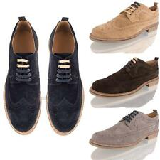 MENS REAL SUEDE LEATHER BROGUE LACE UP CASUAL SMART OXFORD FORMAL SHOES SIZE