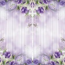 Purple Flowers Decor CURTAIN PANEL Set Floral Print Living Room Window Drapes