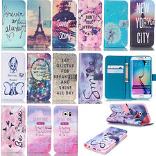 Cute Patterns PU Leather Case for Samsung iPhone Stand Wallet Phone Flip Cover