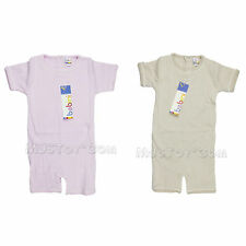 NWT Bebini Infant Baby Toddler Ribbed Knit Romper/Onesie Piping Pink/Beige 24 Mo