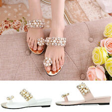 New Women Summer Bohemia Beach Sandal Thong Slippers Flip Flop pearl Flat Shoes