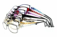 Women Colorful Rectangle Clear Lens Dot Pattern Reading Glasses Reader +1.0~+4.0