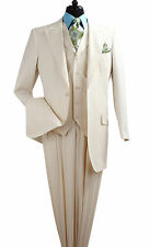 Apollo King Mens Off White Tonal Striped Three Piece Suit With Peak Lapels