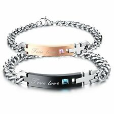 His and Hers Lovers Stainless Steel Cross TRUE LOVE Chain Cuff Bangle Bracelet