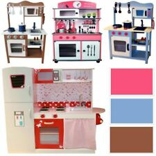 WOODEN KIDS TOY PRETEND KITCHEN PLAYSET CHILDRENS ROLE PLAY COOKER COOKING CAFE