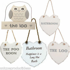 Shabby Chic Signs Home The Poo Loo Bathroom Retro Hanging Owl Heart Bath Plaque