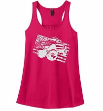 Truck Distressed American Flag Ladies Tank Top Partiotic July 4th USA Pride Z6