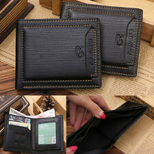 Mens Cow Leather Bifold Wallet Credit/ID Card Holder Slim Purse Black/Brown