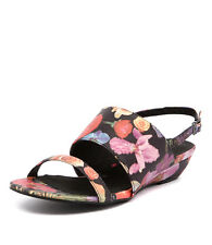 New I Love Billy Makey Black Floral Women Shoes Casuals Sandals Wedges