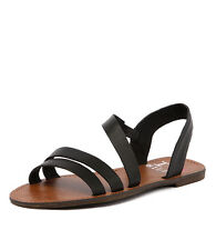 New I Love Billy Apple Black Leather Women Shoes Casuals Sandals Flats
