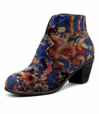 I Love Billy Ranch Navy Print Velvet Women Shoes Casuals Boots Ankle Boots