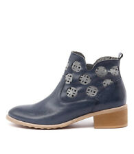 New Django & Juliette Piazza Navy/Denim Leather Women Shoes Boots Ankle Boots