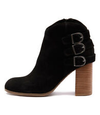 New Django & Juliette Sensato Black Leather/Nubuck Women Shoes Boots Ankle Boots