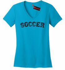 Soccer Ladies V-Neck T Shirt Sports Ball Football World Cup Goalie Hattrick Z5
