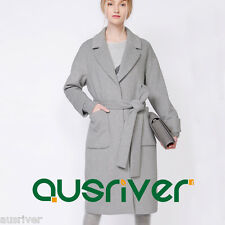 Premium Winter Wool Blend Women's Trench Grey Long Thick Warm Overcoat New