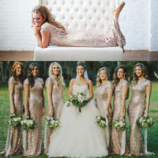 Hot Sequins Long Prom Backless Cocktail Party Wedding Bridesmaid Gown Dress S-XL