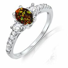 Oval Cut Turquoise Green Fire Opal w Clear CZ Sterling Silver Ring Size 3 - 13