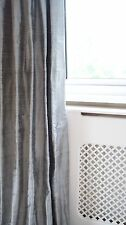 Pinch Pleat Interlined Dupion Silk Curtains Pewter Silver Grey Long Bay Window