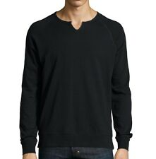 John Varvatos Star USA Men's Raglan Split Neck Sweatshirt Black $118 msrp NWT