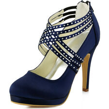EP11085-PF Navy Blue High Heels Closed Toe Pumps Strap Satin Evening Party Shoes
