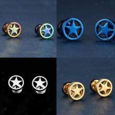 1 Pair of Stainless Steel Circle Five-pointed Star Gothic Earrings Studs