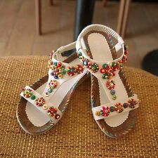 Women Fashion Bohemia Beaded Slippers Flip Flops Flat Sandals Shoes US 5-8