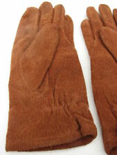 FOWNES LADIES RUSTY BROWN SUEDE WINTER GLOVES ACRYLIC KNIT LINING SIZE MEDIUM