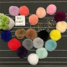 8cm Dense Real Rex Rabbit Fur pompom Ball Keyring Bag charm with Ropes /Keychain