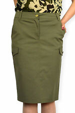 New Ladies Casual Knee Length Pencil Military Green Skirt 8 10 12 14 16 18 20 22