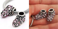 Pink Baby Shoe Bootie Girl Grand-Daughter charm Bead fit European charm bracelet