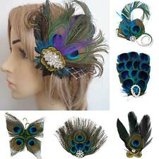 Women Lady Girls Charm Rhinestone Hairpin Peacock Feather Hair Clip Dance Party