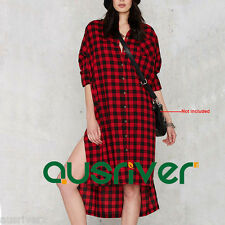Casual Women's Black&Red Gridded Long Shirt Dress Single Breasted Long Sleeve