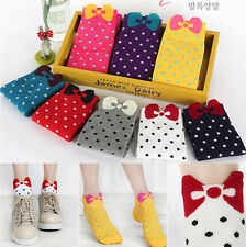 Cute Womens Girls Bow Socks Candy Color Ankle Socks Cotton Socks 1 Pair :FE
