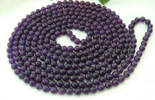 """6mm 8mm 10mm Russican Amethyst Round Bead Gemstone Necklace 36"""""""