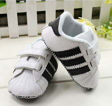 Toddler Baby Boy Girl White Soft Sole Crib Shoes Infant Sneakers 0-18 Months WC3