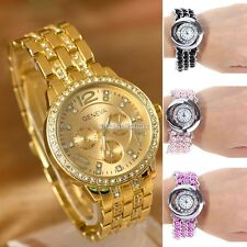 Women Gold Silver Crystal Rhinestone Date Quartz Analog Bracelet N98 Wrist Watch