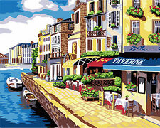 HandPainted Design 14/18CT MONO / 10CT Penelope Needlepoint Canvas Water Town