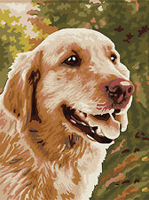 Hand Painted Design Printed 10/14/18CT Needlepoint Canvas Golden Retriever