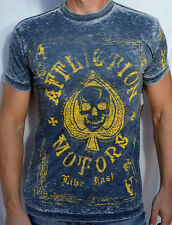 Affliction American Customs ACES - Men's Biker Burnout T-Shirt - NEW - Navy Blue