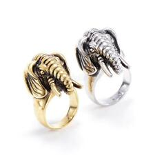 Unisex Fashion Stainless Elephant Style Ganesha Retro Ring (Choose Size & Color)