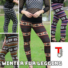 Brushed Fleece Fur Warm Snowflake Print LEGGINGS Stretch Thick Winter