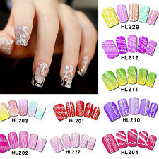 White 3D Flower Lace Nail Art Stickers Water Decal Tips Self Adhesive Transfers
