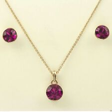 Wedding Bridal Prom Jewellery Set Gold Plated Necklace Purple Crystal Earrings