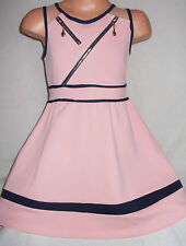 GIRLS PASTEL PINK NAVY ZIP TRIM SPORTY CHEERLEADER STYLE SKATER PARTY DRESS