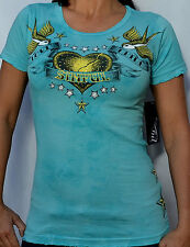 Sinful by Affliction Woman's ADELINA Short Sleeve T-Shirt - S2502 - Turquoise