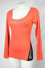 BEBE logo stretch crystals t shirt ribbed Round NECK 263491sleeve Coral Lace M