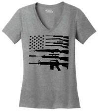 Gun American Flag Ladies VNeck T Shirt Patriotic USA Flag American Pride Guns Z5
