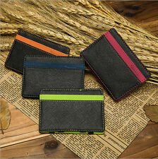 SLIM STUNNING MENS MONEY CLIP FAUX LEATHER CREDIT CARD WALLET HOLDER ID MAGIC