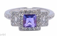 White Gold Princess Cut Promise Engagement Wedding Blue Tanzanite Clear CZ Ring